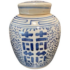 Antique Blue and White Porcelain Chinoiserie Ginger Jar