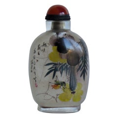 Chinese Glass Snuff Bottle Finely Inside Painted with Spoon Top, 19th C. Qing