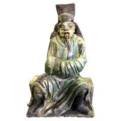 Chinese Glazed Ceramic Pottery Guardian Ancestor Roof Tile Figure