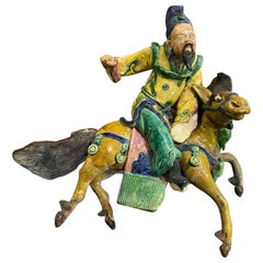 Chinese Glazed Ceramic Pottery Guardian Ancestor Roof Tile Qing Figure on Horse