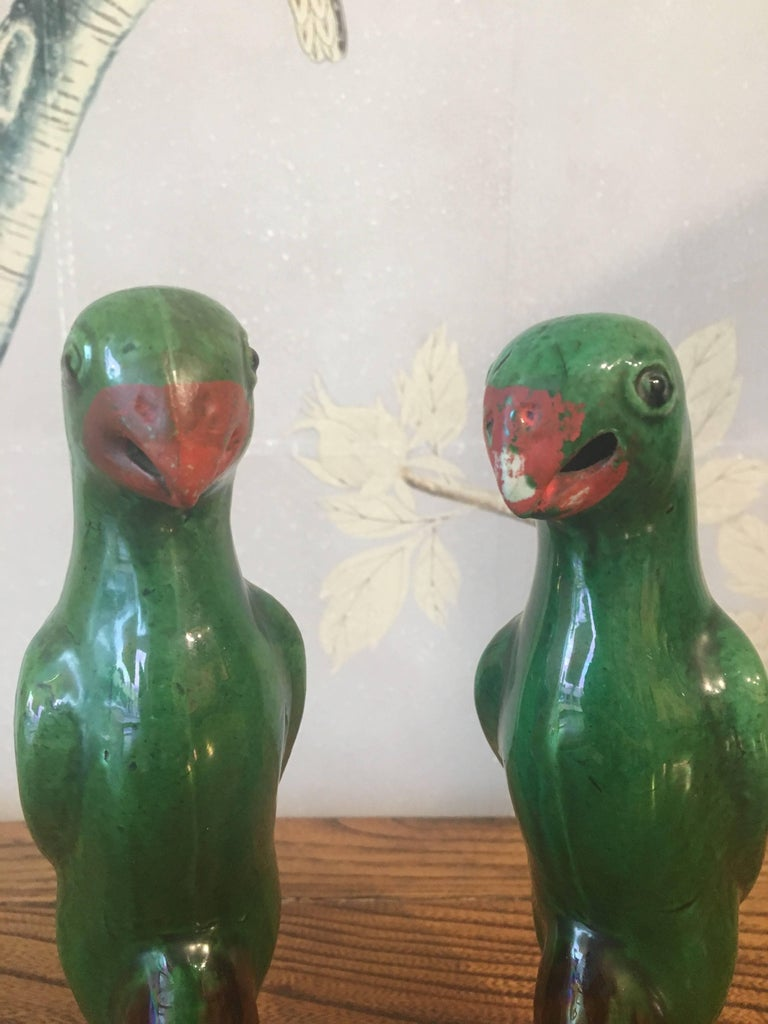 20th Century Chinese Glazed Parrots For Sale