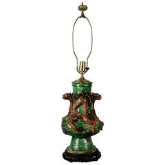 Chinese Glazed Pottery Vase Mounted as Lamp, circa 1880