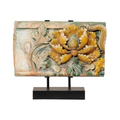 Chinese Glazed Terracotta Temple Fragment '19th C or Older' on Custom Iron Stand