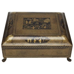 Chinese Gold and Black Lacquer Games Box, Early 19th Century