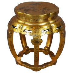 Chinese Gold & Black Lacquered Garden Stool Side Table Chinoiserie Plant Stand