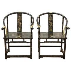 Chinese Gold Decorated Horseshoe Back Armchairs
