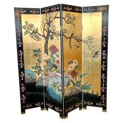 Chinese Gold Leaf Four Panel Room Divider Screen