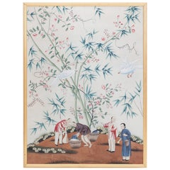 Chinese Gouache Painting with Birds, Flowers and Figures