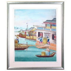 Chinese Gouache and Watercolour Large Painting of a Riverside Scene