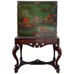 Chinese Green Chinoiserie Sideboard Cabinet Dry Bar on Carved Stand