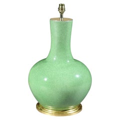 Chinese Green Craquelure Vase Now Mounted as a Lamp
