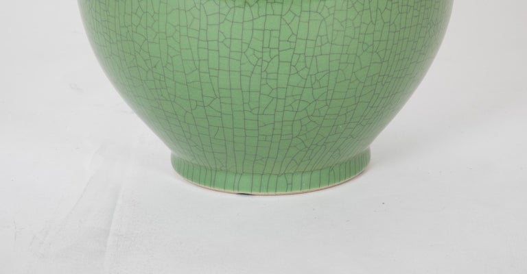 Mid-Century Modern Chinese Green Glaze Large Scale Vase For Sale