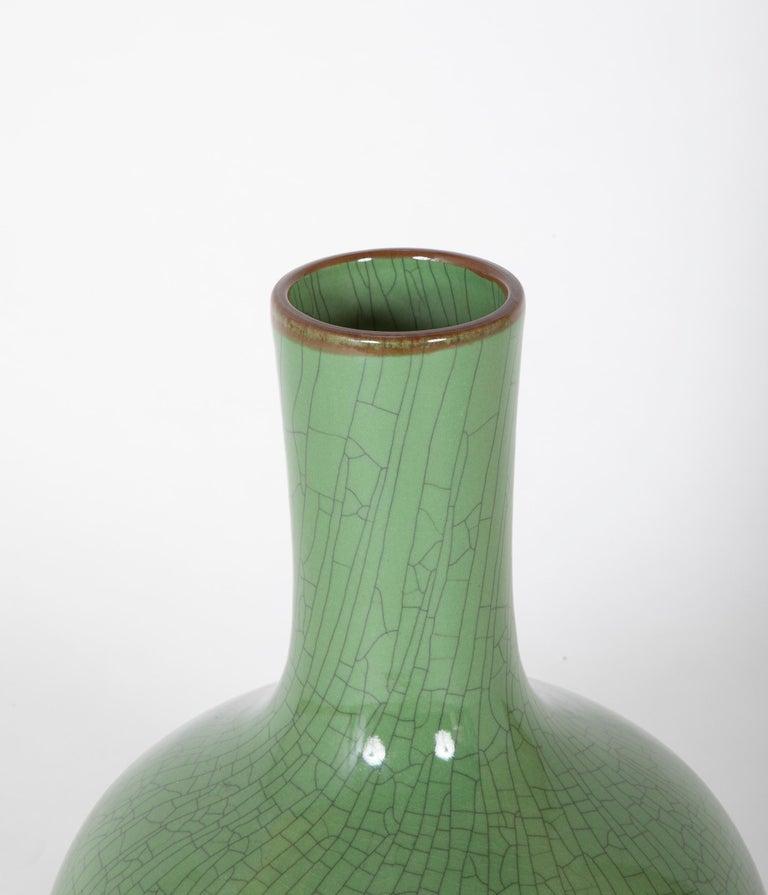 Glazed Chinese Green Glaze Large Scale Vase For Sale