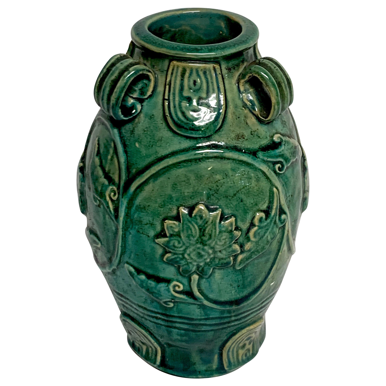 Chinese Green Glazed Lotus Motif Vase