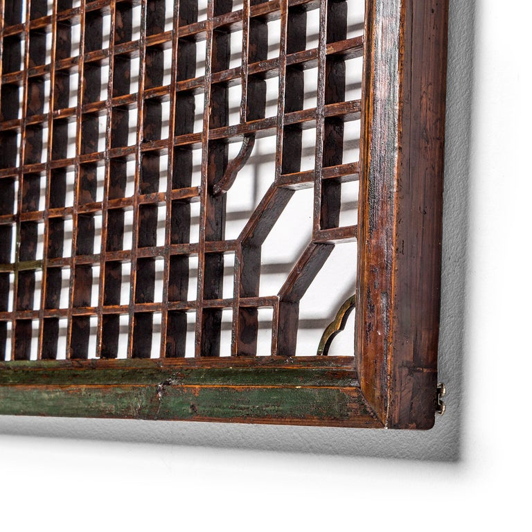 Lacquered Chinese Green Lacquer Lattice Window Panel For Sale