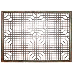 Chinese Green Lacquer Lattice Window Panel