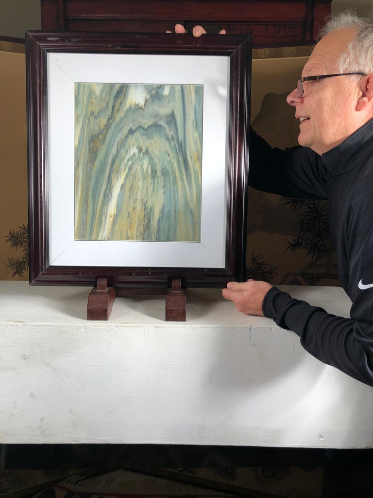 Extraordinary natural work, one of a kind. Custom framed, D8  This Chinese extraordinary natural stone