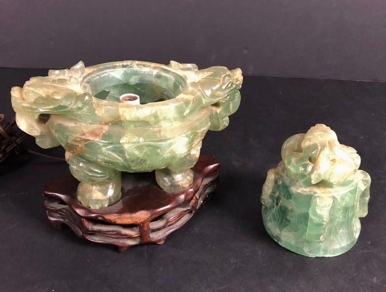 Chinese Green Quartz Censer as Lamp 2
