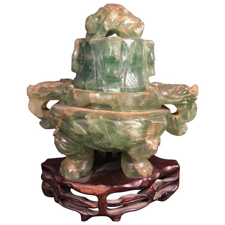 Chinese Green Quartz Censer as Lamp