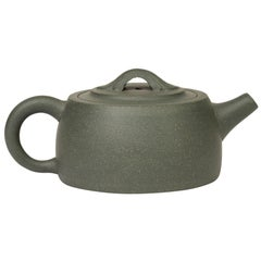 Chinese Green Yixing Clay Squat Rounded Lidded Teapot with Certificate