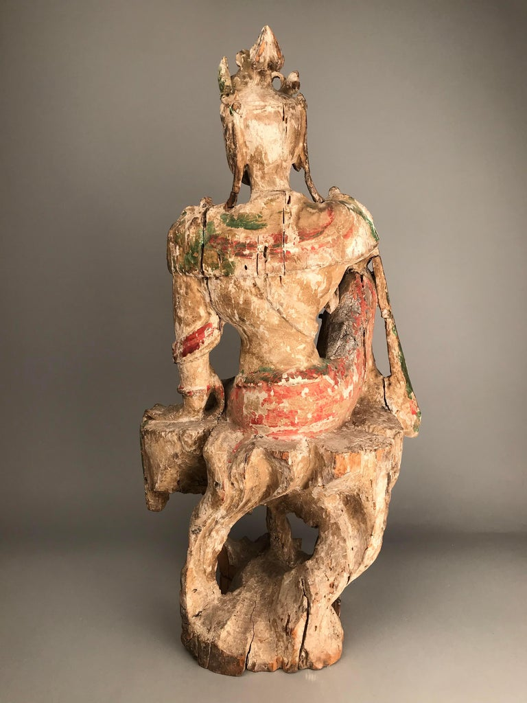 18th Century and Earlier Chinese Guan Yin Figure Early Ming Dynasty For Sale