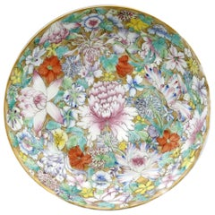 Chinese Guangxu Hand Painted Millefleur Porcelain Saucer Dish