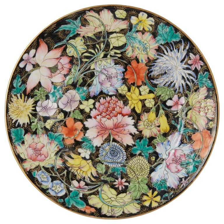 Chinese Guangxu Millefleur Plate, 1875-1908 For Sale