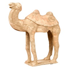 Chinese Han Dynasty 202 BC-200 AD Mingqi Camel with Original Orange Paint