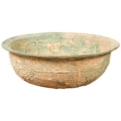 Chinese Han Dynasty Bronze Bowl circa 202 BC-200 AD with Mineral Deposits