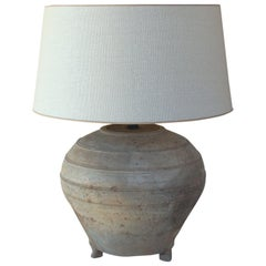 Chinese Han Dynasty Large Unglazed Belly Vase as Table Lamp