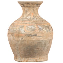 Chinese Han Dynasty Terracotta Hu Vessel with Original Paint circa 202 BC-200 AD