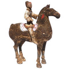 Chinese Han Dynasty Terrecotta Horse And Rider