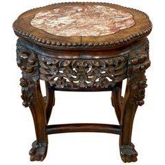 Chinese Hand Carved Huanghuali and Marble Plant Stand or Side Table, c. 1900