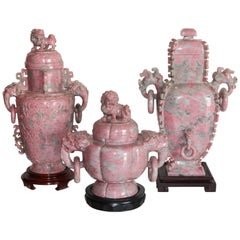 Chinese Hand-Carved Lidded Pink Marble Urns on Plinths