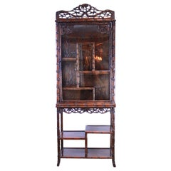 Chinese Hand Carved Rosewood Display Cabinet, Simulated Bamboo, circa 1880