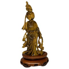Chinese Hand Carved Tiger Eye Statue of Guan Yin