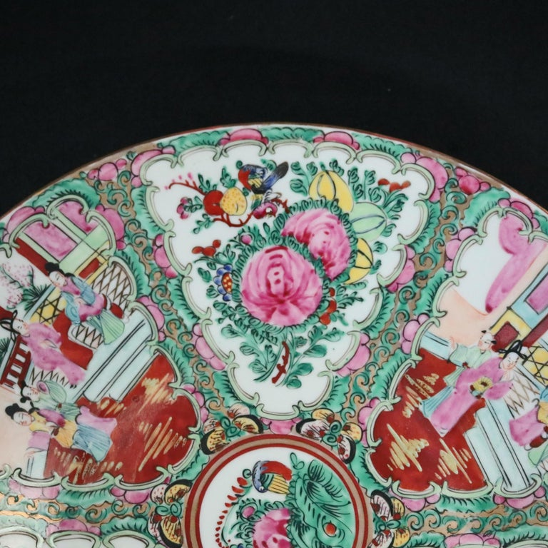 Chinese Hand Enameled Rose Medallion Porcelain Charger, 20th Century In Good Condition For Sale In Big Flats, NY