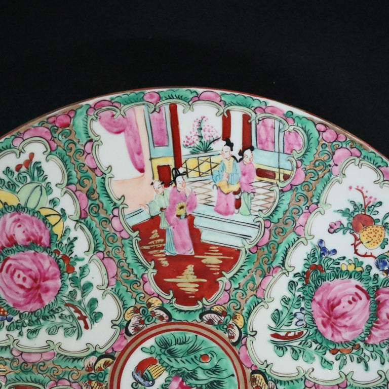 Ceramic Chinese Hand Enameled Rose Medallion Porcelain Charger, 20th Century For Sale