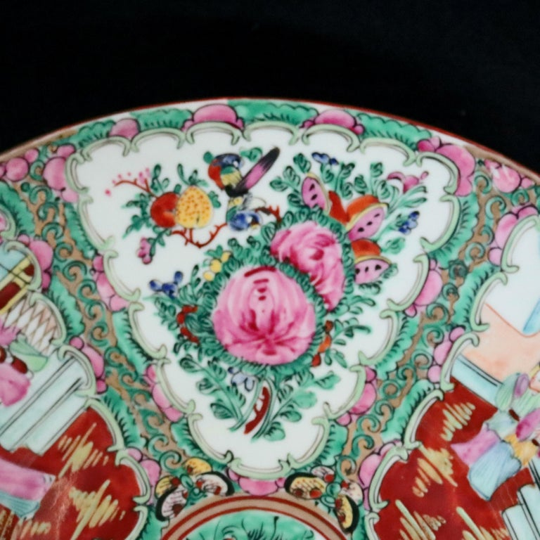 Chinese Hand Enameled Rose Medallion Porcelain Charger, 20th Century For Sale 1