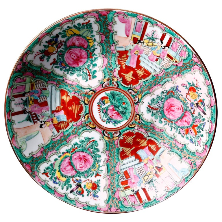 Chinese Hand Enameled Rose Medallion Porcelain Charger, 20th Century For Sale