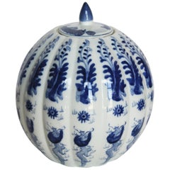 Chinese Hand Painted Blue and White Lidded Gourd Vessel