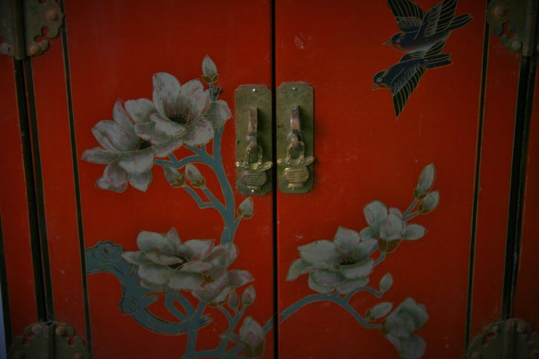 Hardwood Chinese Hand Painted Cabinet/Side Table For Sale