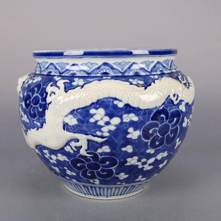 Chinese Hand-Painted High Relief Porcelain Dragon Jardeniere, Blue and White For Sale 1