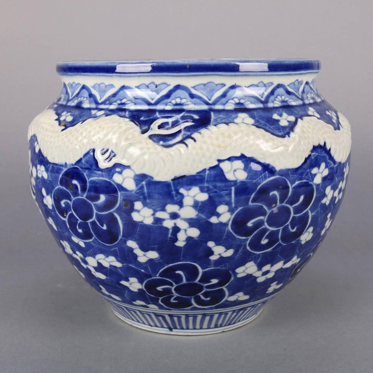 Chinese Hand-Painted High Relief Porcelain Dragon Jardeniere, Blue and White For Sale 3