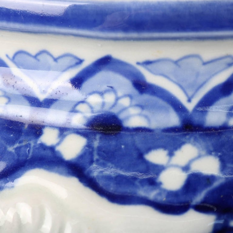 Chinese Hand-Painted High Relief Porcelain Dragon Jardeniere, Blue and White For Sale 4