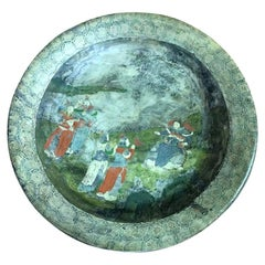 Chinese Hand Painted Marble Water Basin Bowl, 19th Century
