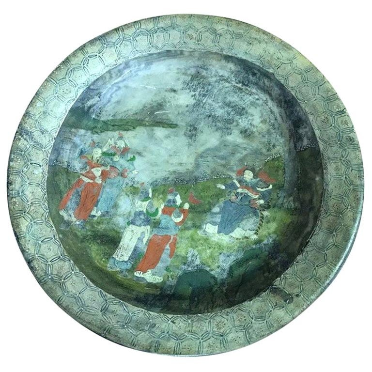 Chinese Hand Painted Marble Water Basin Bowl For Sale