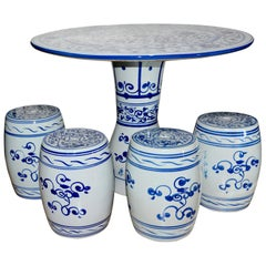Chinese Hand Painted Porcelain Garden Table and Stools