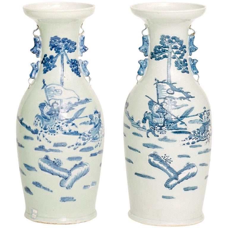 Chinese Hand Painted Porcelain Vases For Sale