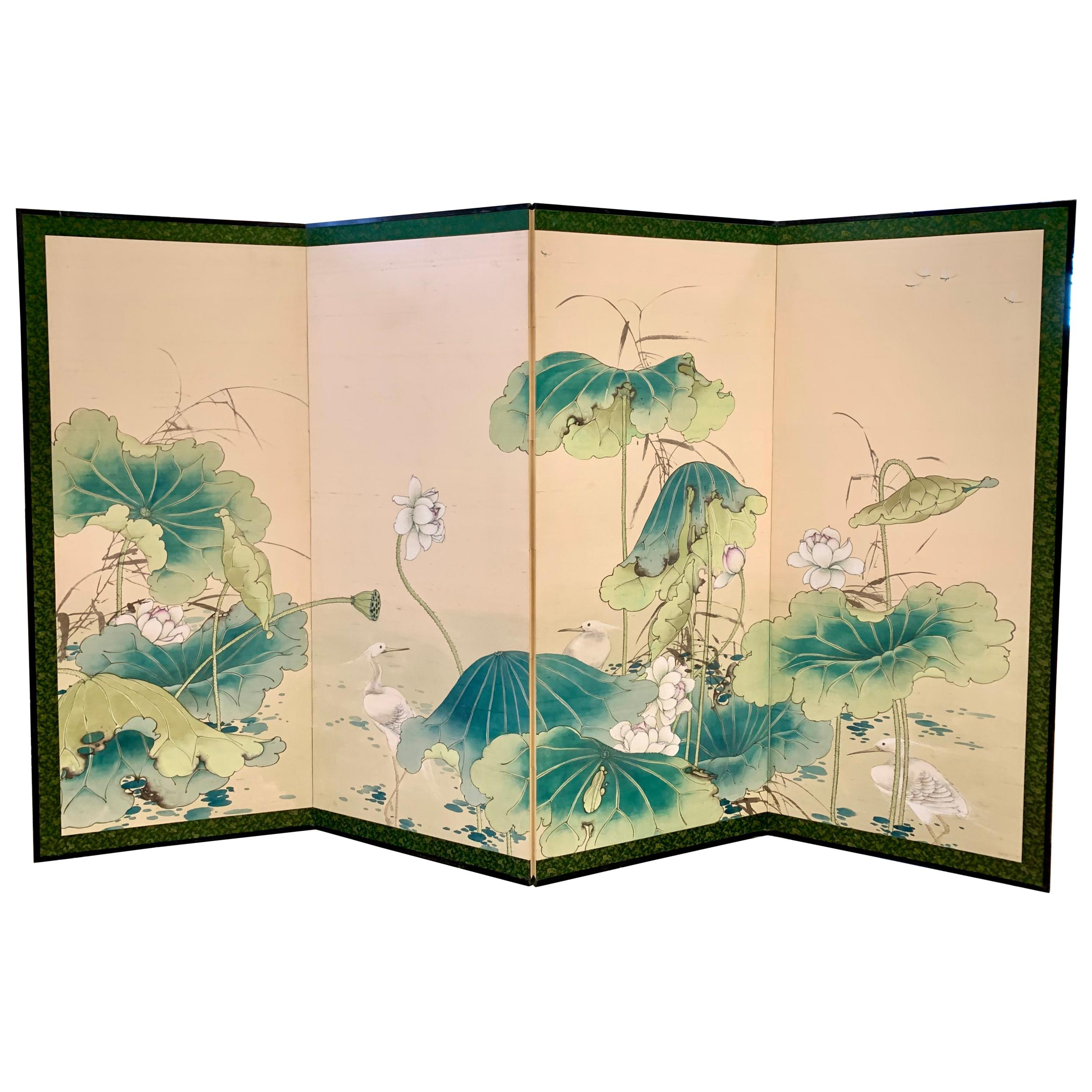 Chinese Hand Painted Screen Room Divider Expandable
